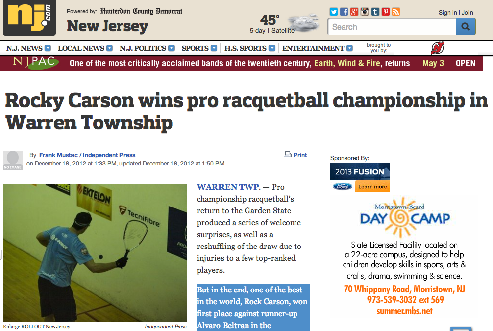 Rocky Carson wins pro racquetball championship in Warren Township